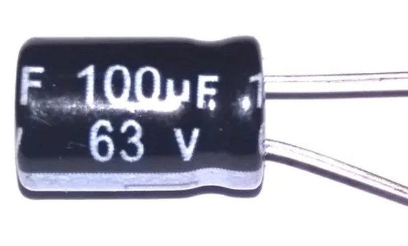 100 x Capacitor eletrolítico 100uf x 63V (100 peças)