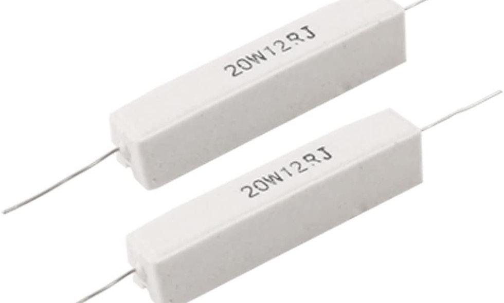 resistor 12 OHM 20W - fio-porcelana