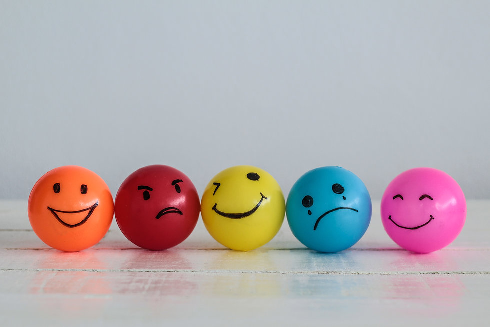 Emotions balls background, Happy Smiley faces ball in yellow , orange and pink. Sadness ball in blue