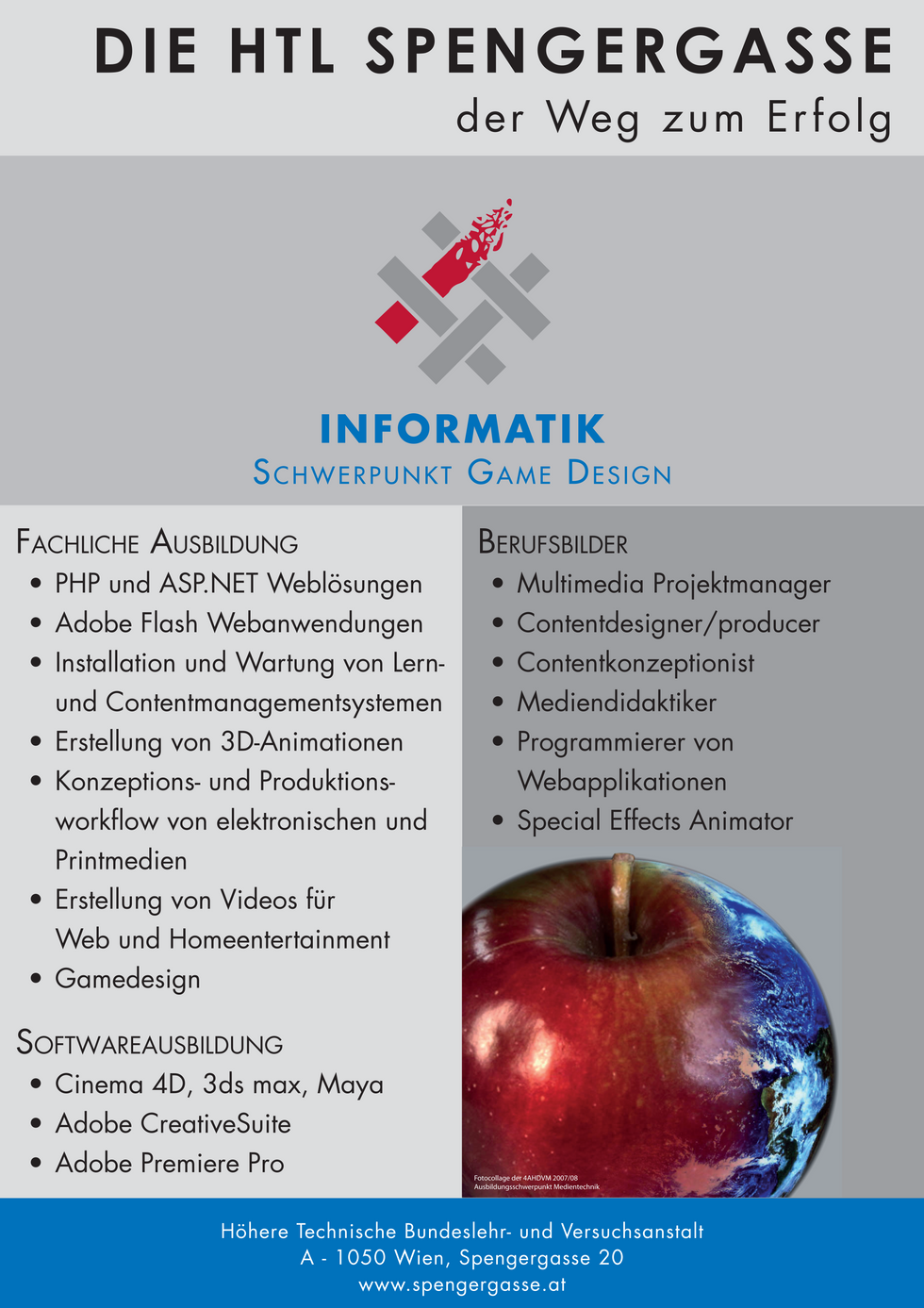 Poster design to introduce visitors to the education options of my school, using InDesign