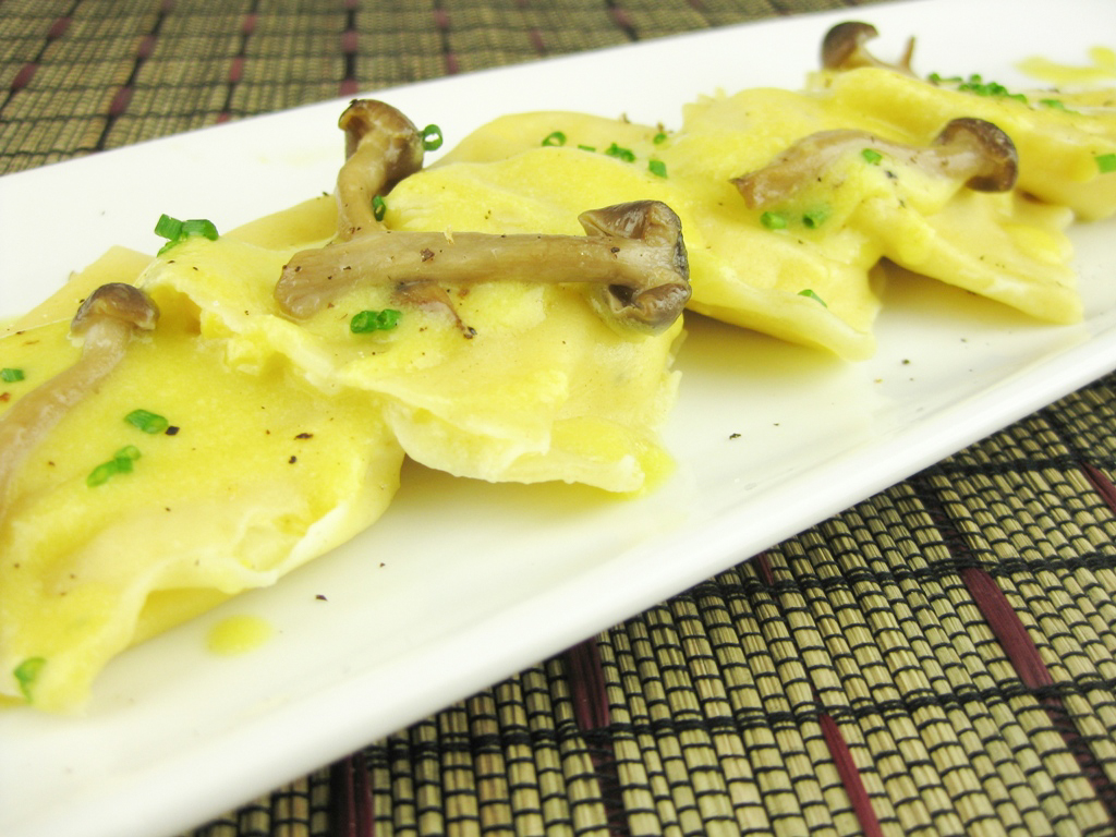 Corn Agnolotti with Enoki Mushrooms