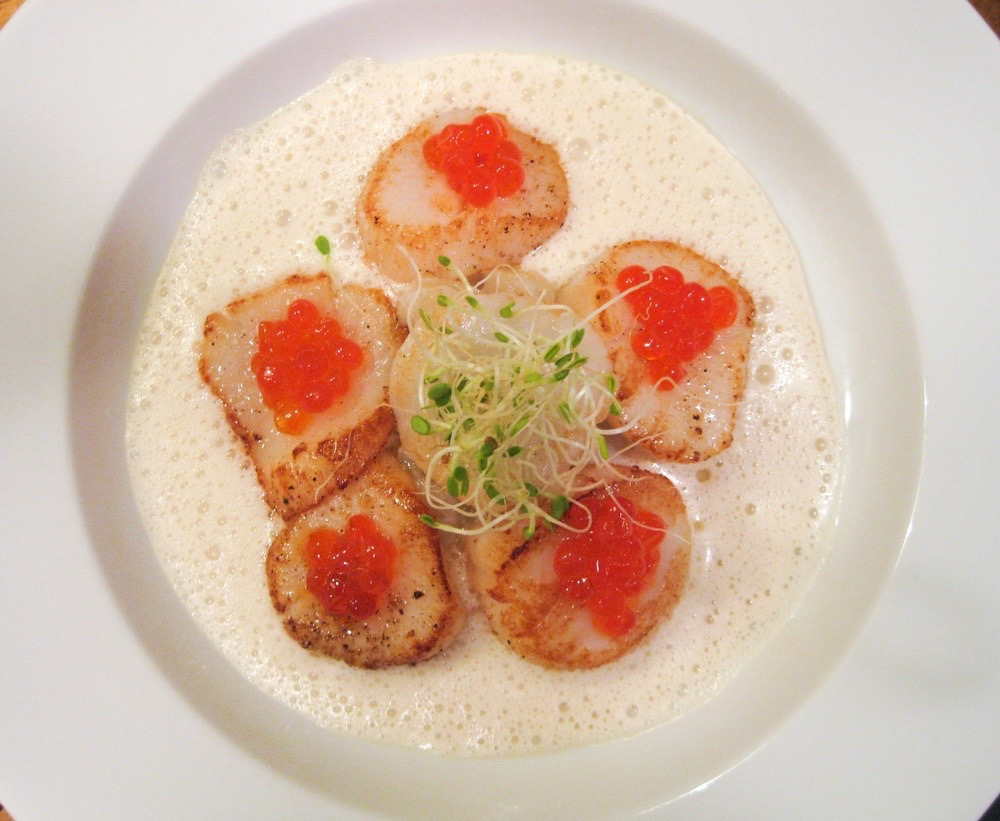 Scallops with Red Salmon Roe
