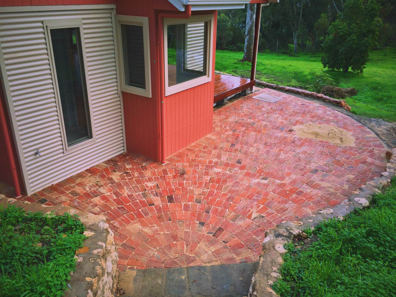 Soothing old red brick paving