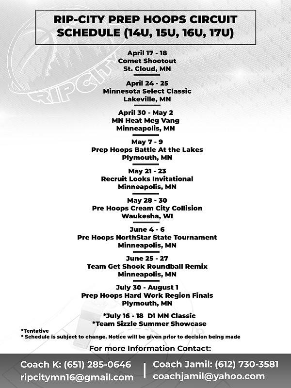 Rip City Prep Hoops Circuit Schedule