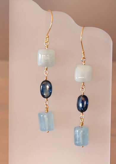 Aquamarine and Kyanite Earrings