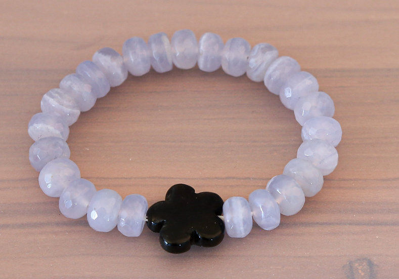 Blue Chalcedony and Obsidian Flower