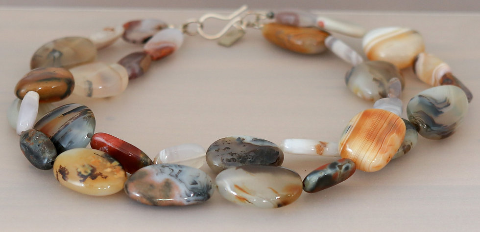Moroccan and Montana Moss Agate Necklace