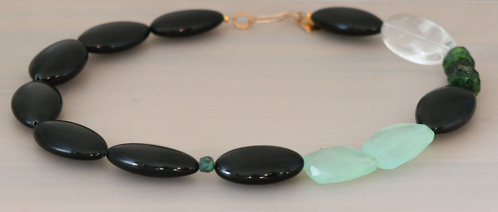 Obsidian, Chrome Diopside, and Chrysoprase Necklace