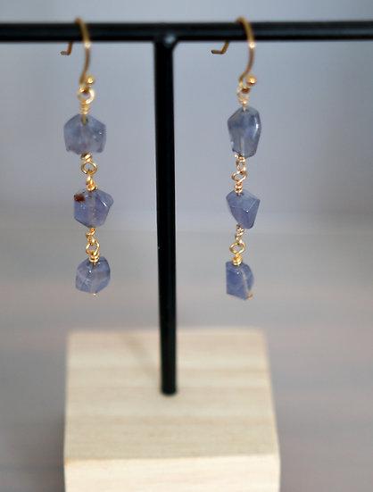 Iolite Wire Drop Earrings