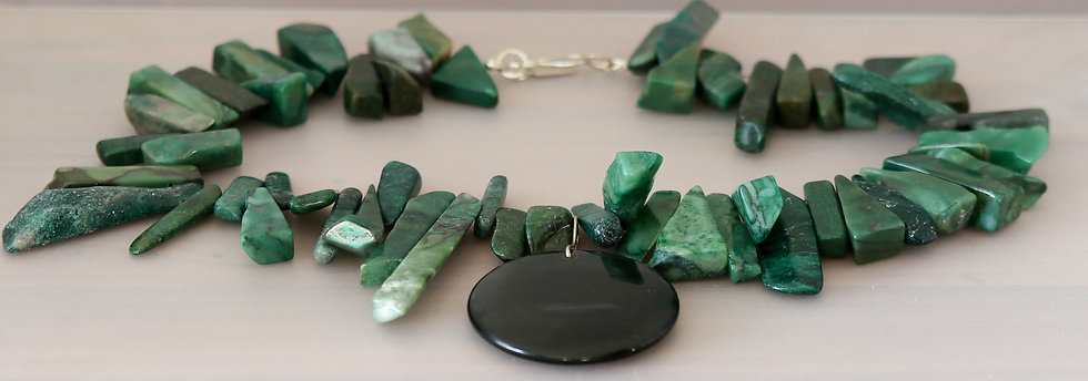 African Jade and Obsidian Necklace