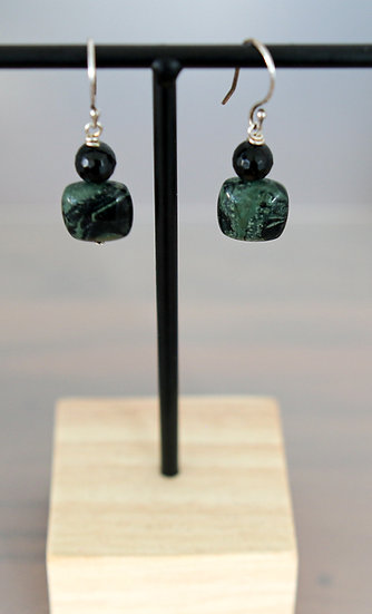Kambaba and Onyx Earrings