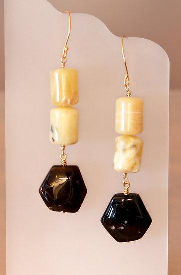 Yellow Tourmaline and Opal Earrings