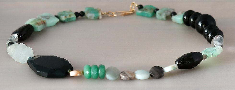 Chrysoprase and Green Agate Necklace
