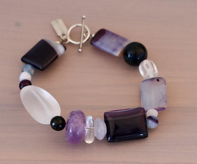 Purple Striped Agate and Amethyst Bracelet