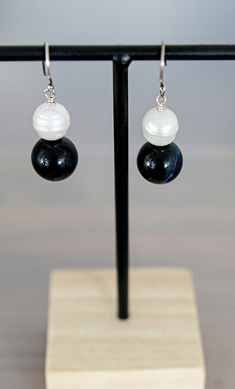 Blue Tiger Eye and Pearl Earring