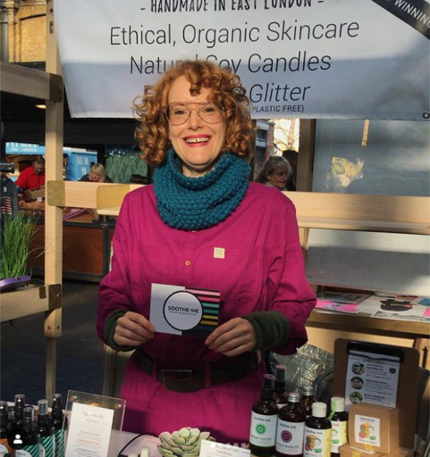 Suzie vegan skincare crafter showing her handmade items