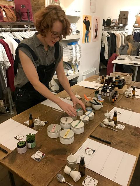 Suzie at vegan skincare craft workshop
