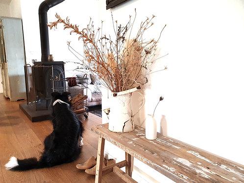 ספסל עץ ממוחזר 120 ס״מ ווש לבן