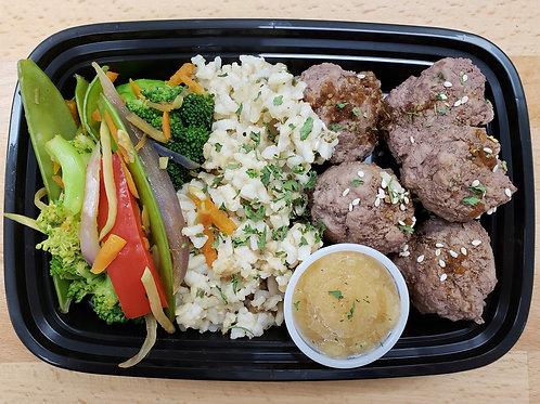 Teriyaki Meatballs, Jasmine Rice, and Stir Fry