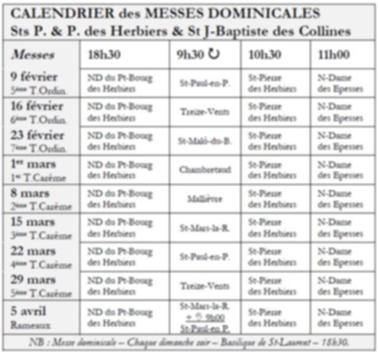 BP Fevrier 2020 - Messes dominicales_02a