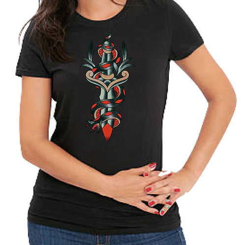 Snake & Dagger T-Shirt-Womens-medium-black