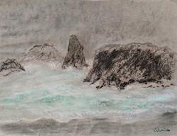 Coast Off Of Banyon, Oregon  chalk on pa