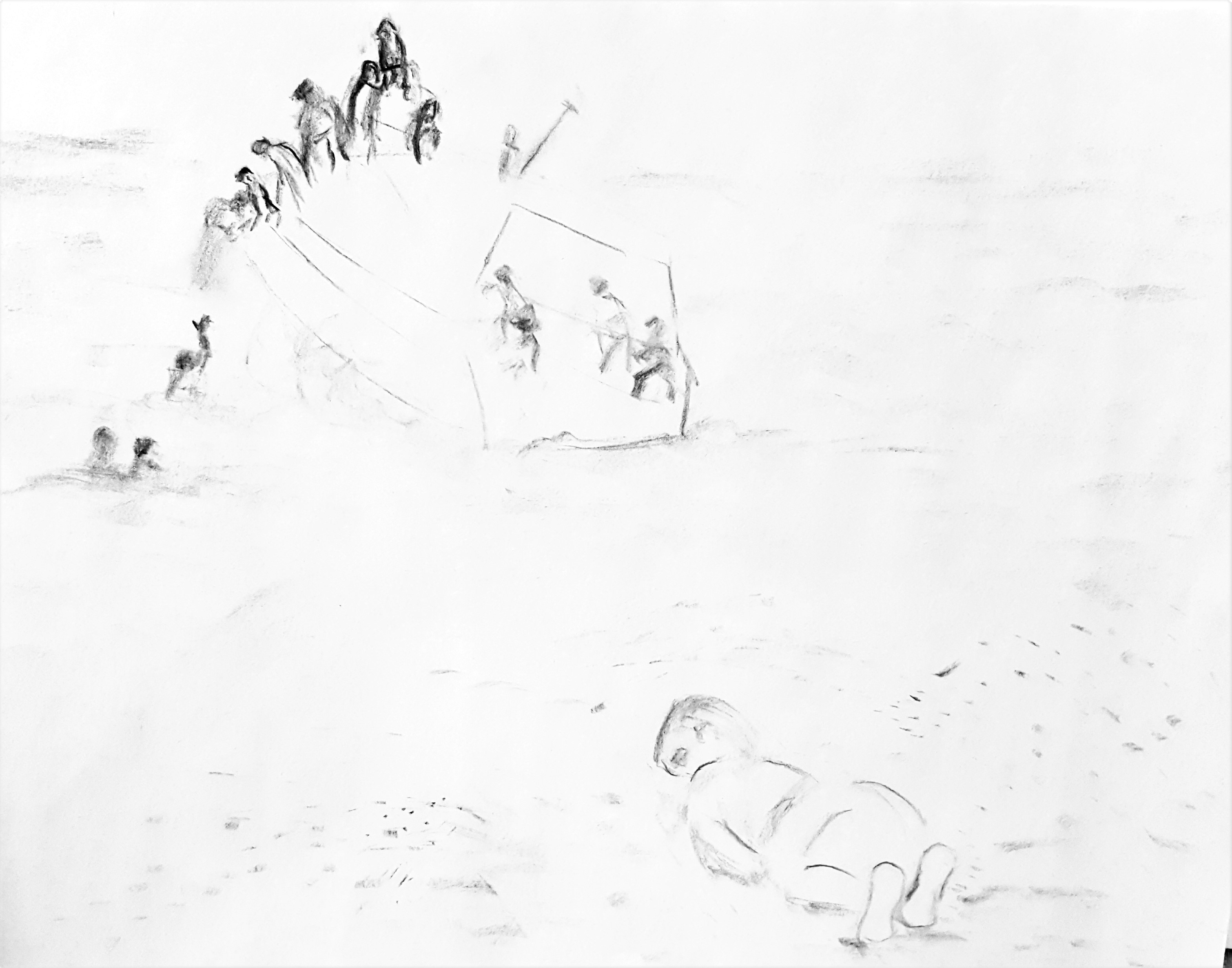 study for Drowned Syrian Refugee Boy pen