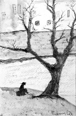Man Sitting By The Seine I  pencil on pa