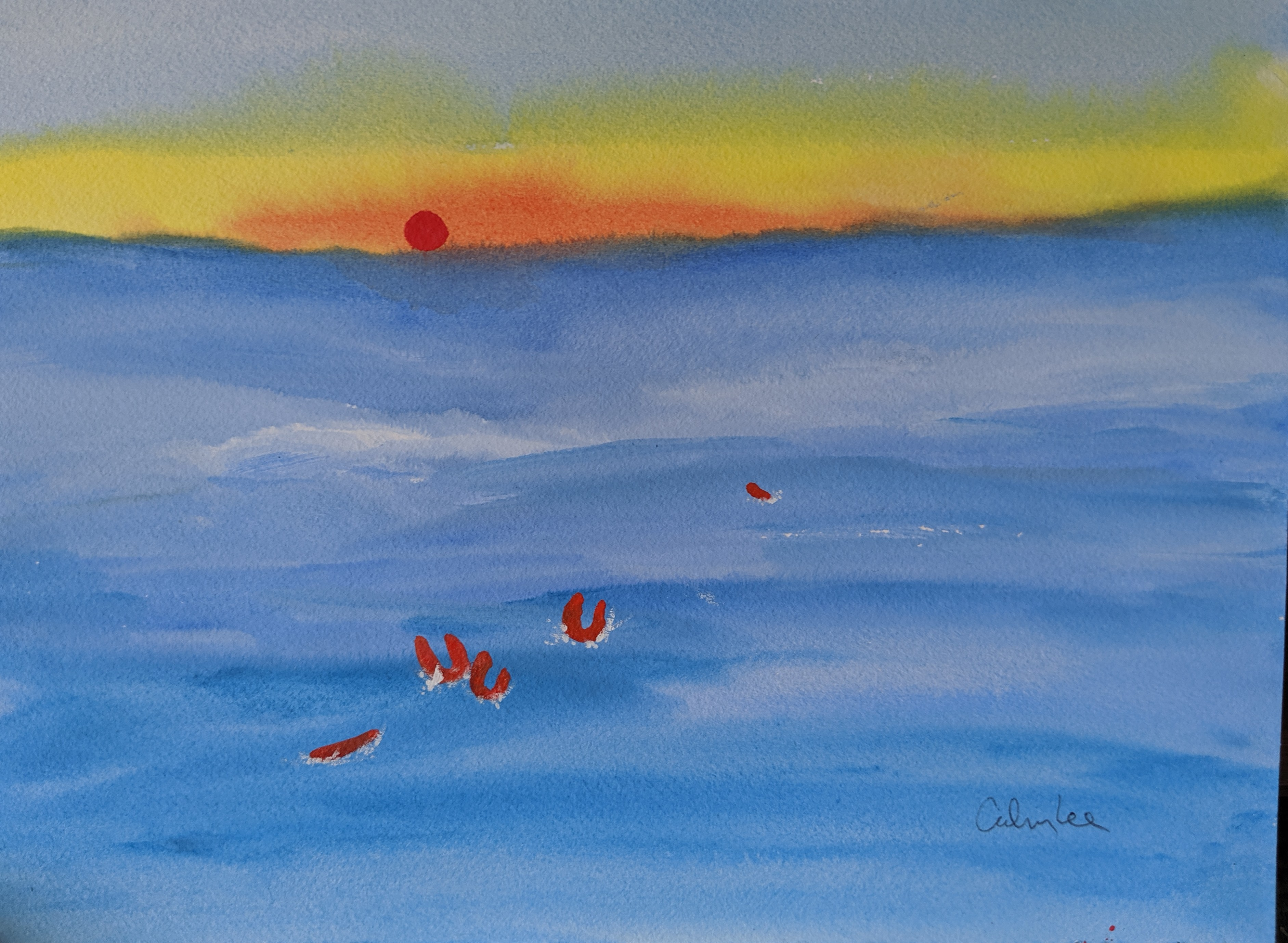 Drowning Life Vests III  watercolor on p