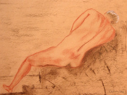Male Nude At Rest  sanguine on paper