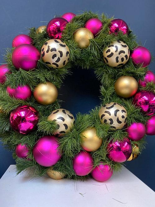 Leopard Print Christmas Wreath STandard