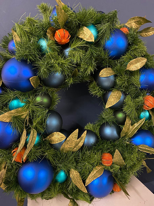 Majestic - Royal Blue Christmas Wreath