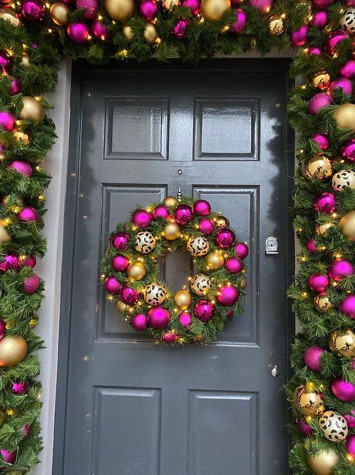 Christmas Pink, Gold and Leopard Print Door Surround Small