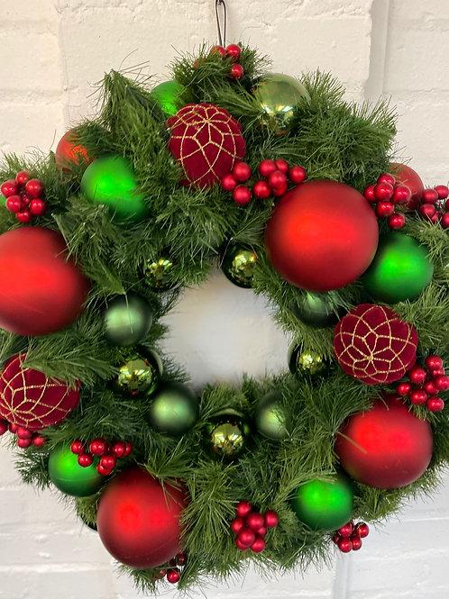 Royal Red & Green Christmas Wreath