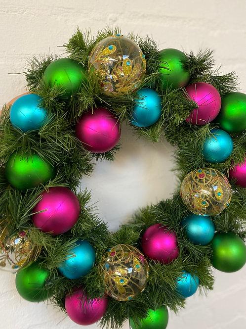 Peacock - Teal & Pink Mini Christmas Wreath
