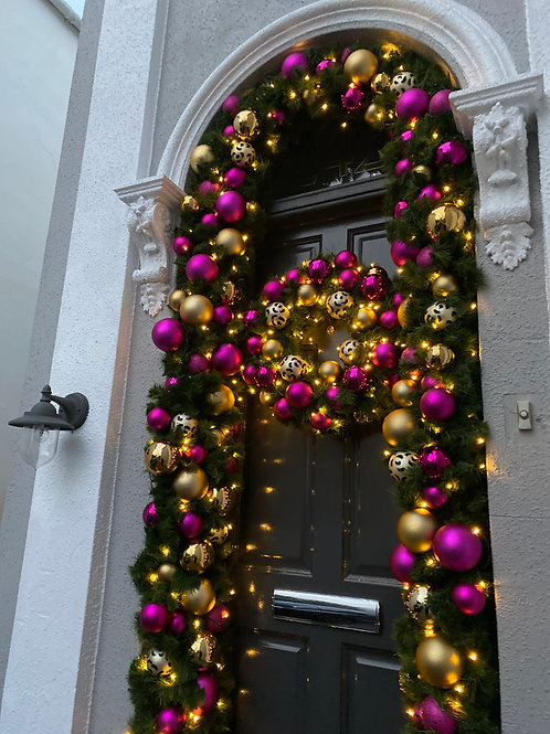 Pink and Gold Leopard Christmas Door Surround