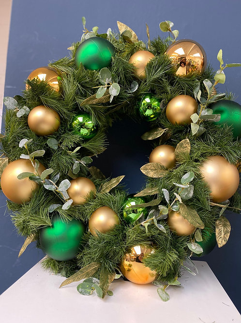 Majestic -Racing Green & Gold Christmas Wreath