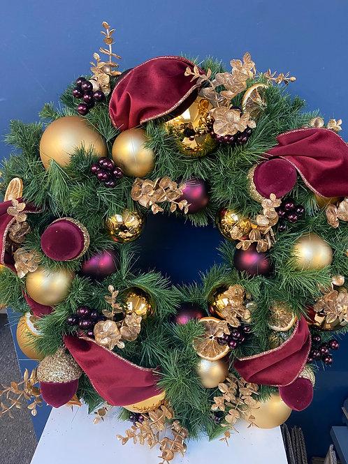 Majestic Burgundy & Berry Christmas Wreath