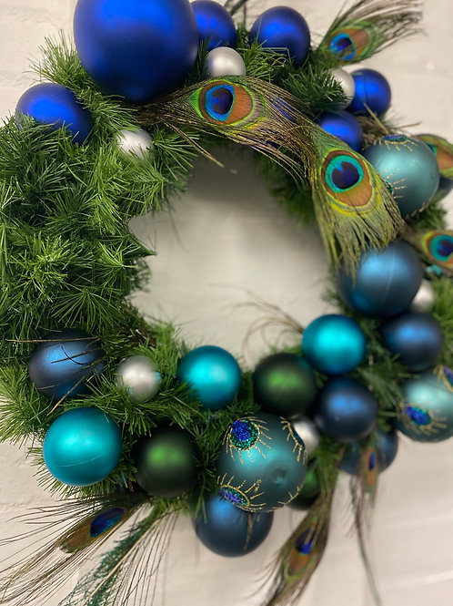 Peacock Blue Small Christmas Wreath