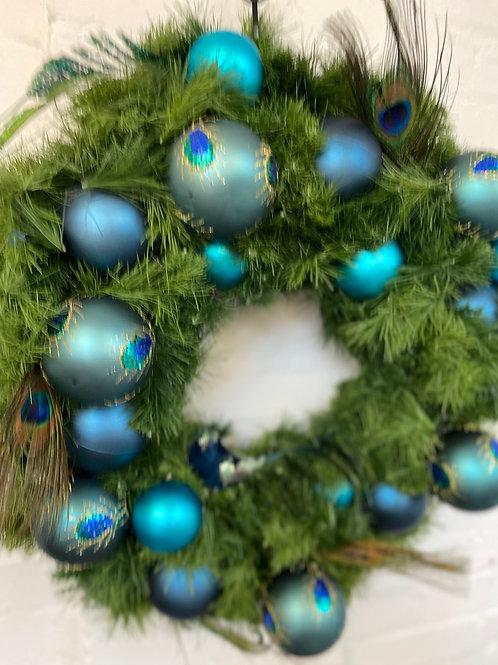 Peacock Teal Christmas Wreath