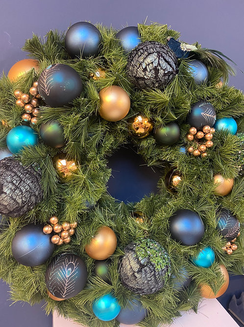 Majestic - Feather Blue & Gold Christmas Wreath