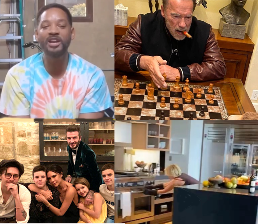 Celebrities on lockdown. Clockwise from top left: Will Smith does yoga, Arnold Scharzenegger plays chess, the Beckham family does puzzles and Portia de Rossi bakes