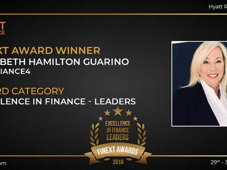 Elizabeth Hamilton Guarino awarded the 'Excellence in Finance Leaders' award at FiNext Conference