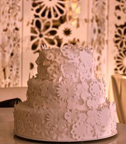 Torta de Bodas con encaje aplicado
