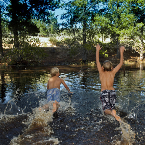 Swimming in the camp dam