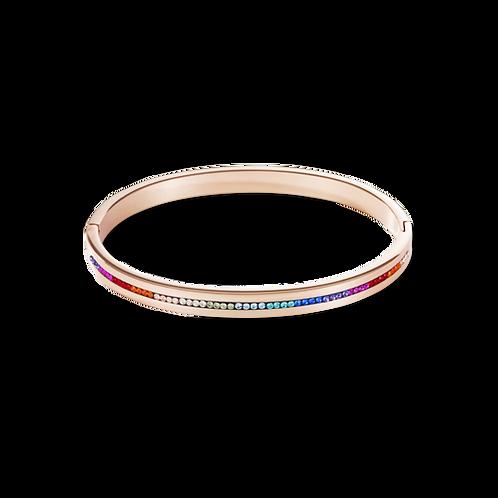 COEUR DE LION Bangle stainless steel rose gold & crystals pavé strip multicolour