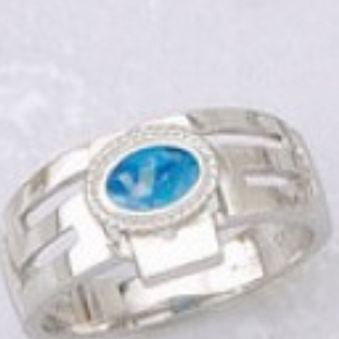 GREEK KEY DESIGN MEANDROS Sterling Silver Ring with Blue Opal