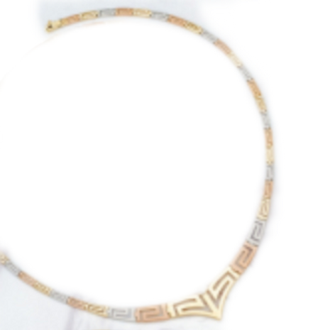 GREEK KEY DESIGN MEANDROS 14ck  YELLOW, WHITE& ROSE GOLD Necklace