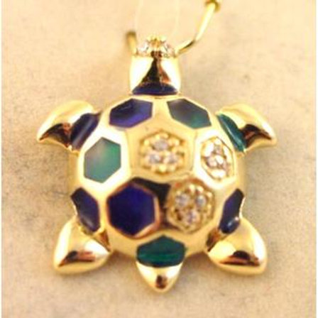 Gold Pendant 14ck Yellow  Gold  Cephalonia Turtle with Enamel and Cubic Zirconia