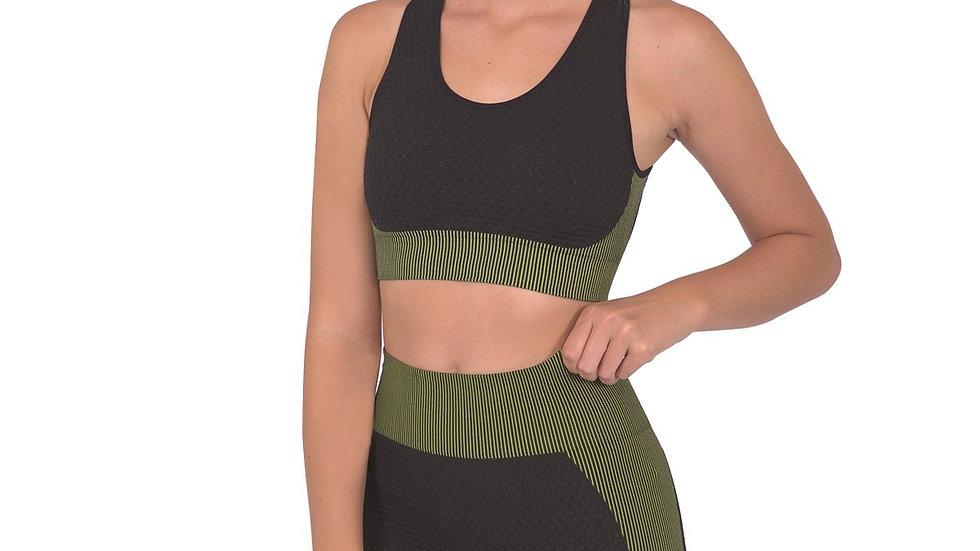 Trois Seamless Sports Bra - Black With Green